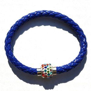 """Braided Leather Bracelet 7"""" with Magnetic Clasp"""